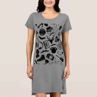 黒いパターンヒップスター ドレス