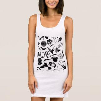黒いパターンヒップスター 袖なしドレス