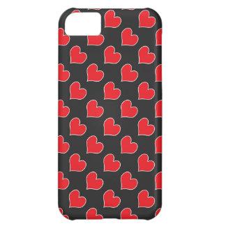 黒いパターンiphone 5の箱の赤いハート iPhone5Cケース