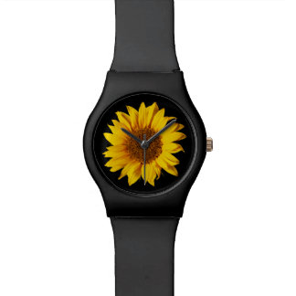 黒いヒマワリの花柄のテンプレートのヒマワリ 腕時計
