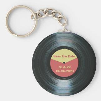 黒いビニール音楽結婚式の保存日付のキーホルダー キーホルダー
