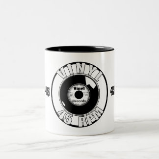 黒いビニール45及び白 ツートーンマグカップ