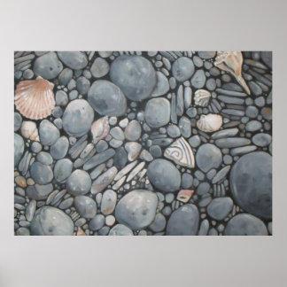 黒いビーチは小石の石を揺すります ポスター
