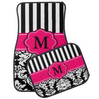 黒いピンクのダマスク織のストライプのモノグラム カーマット