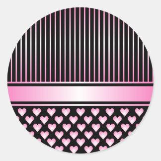 黒いピンクのハートのリボンの円形のステッカー ラウンドシール