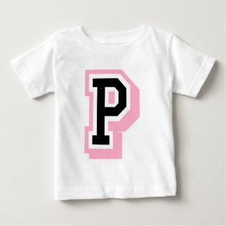 黒いピンクの手紙P ベビーTシャツ