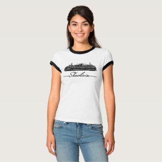 黒いフェリートリムのティー Tシャツ