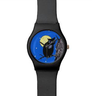 黒いフクロウの木の月の星 腕時計