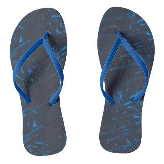 黒いフリップフロップの軽い中型の青の抽象芸術 ビーチサンダル