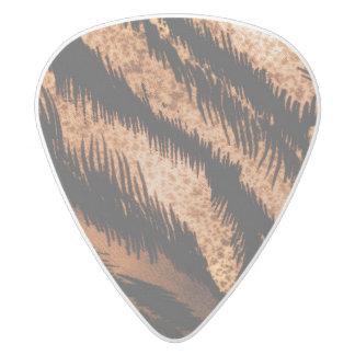 黒いブラウンのシマウマパターン写真のプリント ホワイトデルリン ギターピック