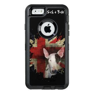 黒いブルテリアの英国国旗 オッターボックスディフェンダーiPhoneケース