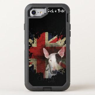 黒いブルテリアの英国国旗 オッターボックスディフェンダーiPhone 8/7 ケース