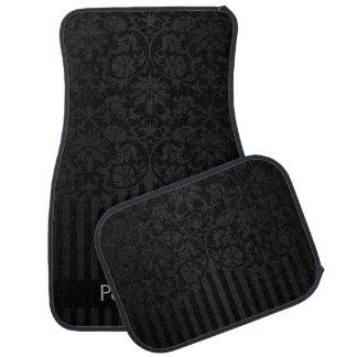 黒いプリント|のスタイリッシュなダマスク織は個人化なります カーマット