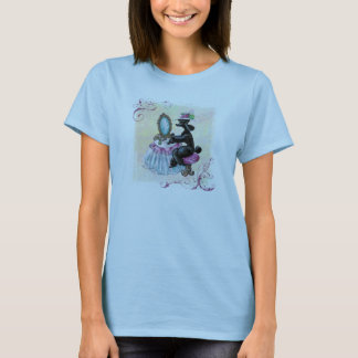 黒いプードルの私室のレトロの芸術 Tシャツ