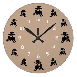 黒いプードル ラージ壁時計