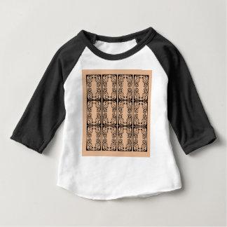 黒いベージュレースのバニラ/黒 ベビーTシャツ