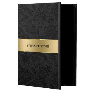 黒いペイズリー、モノグラムのな金ゴールドのストライプ POWIS iPad AIR 2 ケース