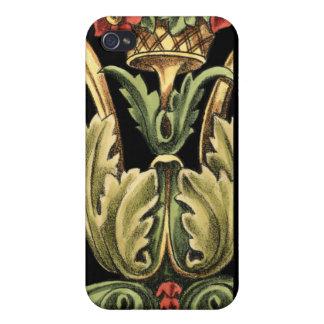 黒いボーダーとの装飾用の花柄 iPhone 4/4S CASE