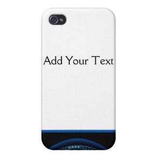黒いボーダーの青いDashlight iPhone 4/4S カバー