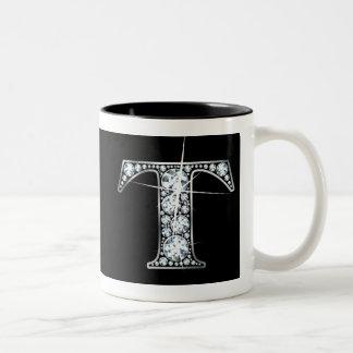 """黒いマグできらきら光るな""""T""""のダイヤモンド ツートーンマグカップ"""