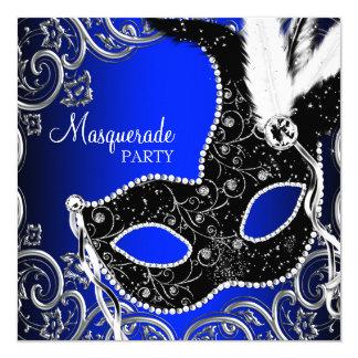 黒いマスクのロイヤルブルーの仮面舞踏会のパーティ カード