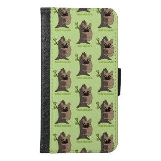 黒いマスクの子鹿Frenchieはかわいい木のhuggerです Galaxy S6 ウォレットケース
