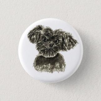 黒いミニチュア・シュナウツァーの子犬の水彩画のデザイン 3.2CM 丸型バッジ