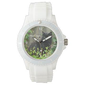 黒いメインのあらいぐま猫の腕時計 腕時計