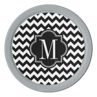 黒いモノグラムが付いている白黒シェブロン ポーカーチップ