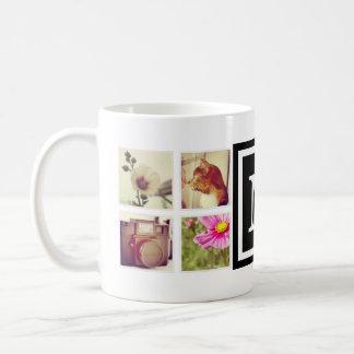 黒いモノグラムのInstagramの写真のコラージュのマグ コーヒーマグカップ