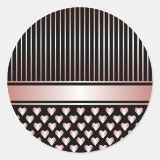 黒いモモのハートのリボンの円形のステッカー ラウンドシール