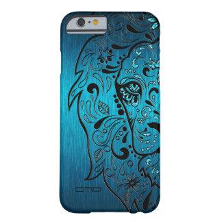 黒いライオンの砂糖のスカルの金属青い背景 BARELY THERE iPhone 6 ケース