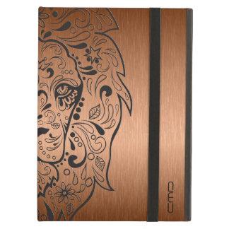 黒いライオンの頭部のスカルの金属銅の背景 iPad AIRケース
