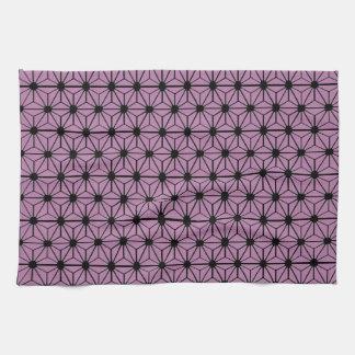 黒いラインが付いている紫色の星パターン キッチンタオル