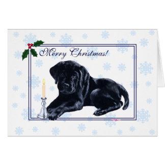 黒いラブラドル・レトリーバー犬のクリスマスの雪片 カード