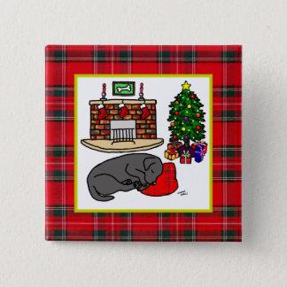 黒いラブラドル・レトリーバー犬のクリスマスピン 5.1CM 正方形バッジ