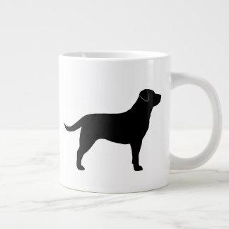 黒いラブラドル・レトリーバー犬のシルエット ジャンボコーヒーマグカップ