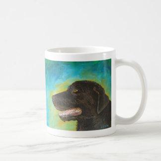黒いラブラドル・レトリーバー犬の芸術の絵画のマグ コーヒーマグカップ