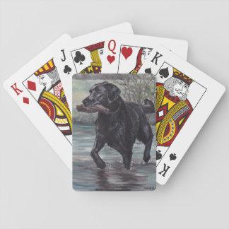 黒いラブラドル・レトリーバー犬犬の芸術のトランプ トランプ