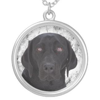 黒いラブラドル・レトリーバー犬 シルバープレートネックレス