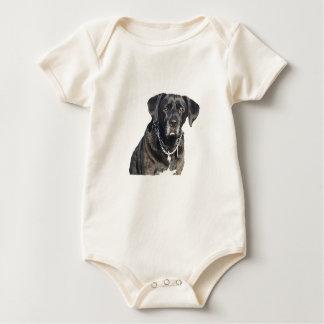 黒いラブラドル・レトリーバー犬 ベビーボディスーツ
