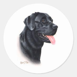 黒いラブラドル・レトリーバー犬 ラウンドシール