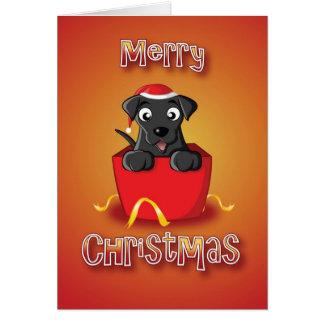 黒いラブラドル-箱-メリークリスマス カード