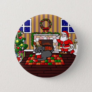 黒いラブラドールおよびサンタのクリスマスの漫画 5.7CM 丸型バッジ