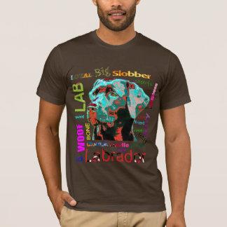 黒いラブラドールのポップアートのデザインのTシャツ Tシャツ