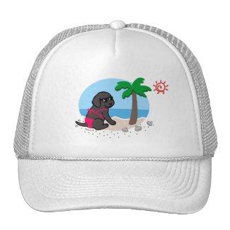 黒いラブラドールの女の子の夏期休暇の帽子 メッシュキャップ