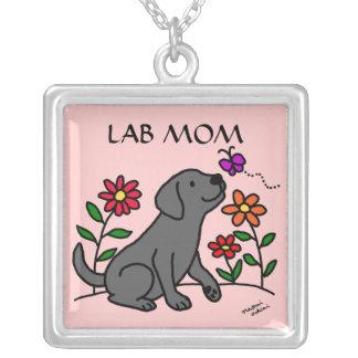 黒いラブラドールの実験室のお母さんのネックレス シルバープレートネックレス