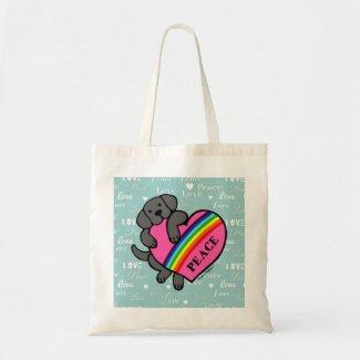 黒いラブラドールの虹のハート キャンバス地バッグ