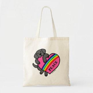 黒いラブラドールの虹のハート トートバッグ