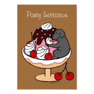 黒いラブラドール及びアイスクリームのサンデー カード